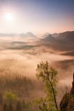 Fairy daybreak. Misty awakening in a beautiful hills. Peaks of hills are sticking out from foggy background Stock Photo