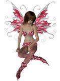 Fairy del biglietto di S. Valentino che si siede giù pensiero Immagini Stock Libere da Diritti