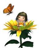 Fairy del girasole del bambino con la farfalla Fotografia Stock Libera da Diritti