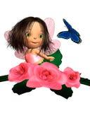 Fairy della Rosa di colore rosa di bambino con la farfalla Fotografia Stock
