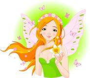 Fairy della sorgente con il narciso Immagini Stock