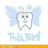 Fairy di dente Grafico di vettore editabile nello stile lineare Immagini Stock Libere da Diritti