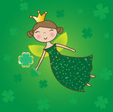 Fairy do St. Patrick com mágica do trevo. Imagens de Stock Royalty Free