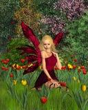 Fairy do Tulip com fundo da mola Fotos de Stock Royalty Free