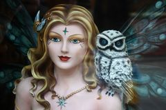 Fairy. The doll - fairy with owl on his shoulder royalty free stock images