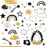 Fairy doodle black and gold elements, rainbow, stars and clouds. Vector objects royalty free illustration