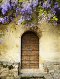 Fairy door of an old tuscan villa. Rustic door of an old and elegant villa Stock Photography
