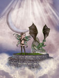 Fairy and dragon Royalty Free Stock Photography