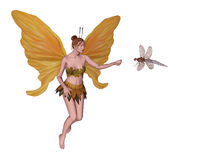 Fairy with dragonfly. Cute 3D fairy meeting a dragonfly Royalty Free Stock Photo