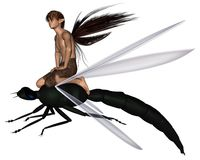 Fairy Dragonfly Rider. Young male fairy riding a green dragonfly, 3d digitally rendered illustration Royalty Free Stock Image