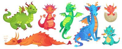Fairy dragons. Funny fairytale dragon, cute magic lizard with wings and baby fire breathing serpent cartoon isolated. Fairy dragons. Funny fairytale dragon, cute vector illustration