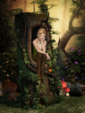 Fairy Dreams. Charming Fairy sits in a hollow tree and dreams Stock Photos