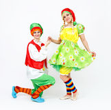Fairy dwarf girl and her elf friend on white Stock Image