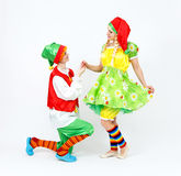 Fairy dwarf girl and her elf friend on white Royalty Free Stock Photography