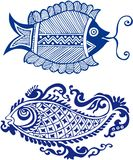 Fairy eastern fish patterns Royalty Free Stock Photo