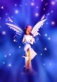 Fairy elf. A beautiful fairy elf over starry background vector illustration