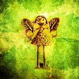'Fairy Elf' Metal Motif on Leaves, Close-up Royalty Free Stock Photography