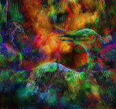 Fairy emerald green phoenix bird, colorful ornamental fantasy pa Stock Photography