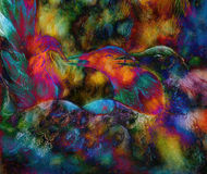 Fairy emerald green phoenix bird, colorful ornamental fantasy painting, collage Royalty Free Stock Photos