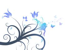 Fairy fantasy with floral design abstract background vector illu royalty free illustration