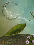 Fairy. In a fantasy landscape with leaft moon stock illustration