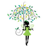 Fairy with Floral Umbrella Royalty Free Stock Photos