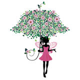 Fairy with Floral Umbrella Stock Photography