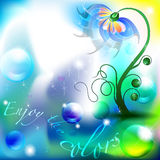 Fairy flower in a blue and green color shades. Background with space for Text Royalty Free Stock Photo