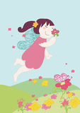 Fairy flowers. A little fairy smells a flower. Vector illustration Stock Images