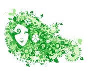Fairy with flowers. Green fairy with flowers and butterflies Royalty Free Stock Photo