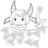Fairy with flowers coloring page vector illustration
