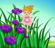 A fairy and the flowers in the garden Stock Photo