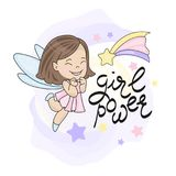 FAIRY FLY STAR GIRL AND LETTERING Vector illustration. And hand drawing text Stock Photo