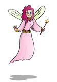Fairy flying. Pink fairy flying while holding star bane. This fairy can be used as a princess, tooth fairy Stock Photos