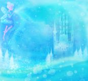 Fairy flying above castle royalty free illustration