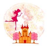 Fairy flying above castle stock photos
