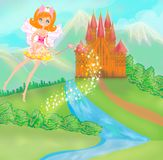 Fairy flying above castle Stock Photography