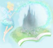 Fairy flying above castle Royalty Free Stock Photography