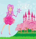 Fairy flying above castle Royalty Free Stock Images