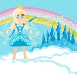 Fairy flying above castle Royalty Free Stock Photos