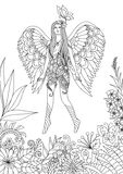 Fairy flying with butterfly vector illustration