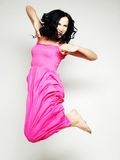 Fairy flying girl in pink  dress Royalty Free Stock Photography
