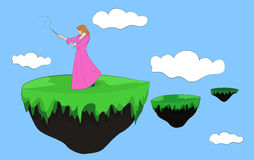 Fairy on a flying island Royalty Free Stock Photo