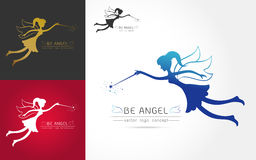 Fairy flying logo Royalty Free Stock Image