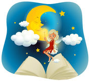 Fairy flying in the sky at night time Royalty Free Stock Photography