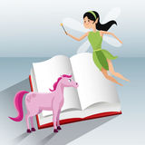 Fairy flying and unicorn tale book Stock Photo