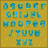 Fairy font. Funny blue and yellow symbols Royalty Free Stock Photography