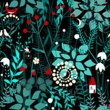 Fairy forest background. Floral seamless pattern with doodle plants, birds, firefly, fox, and house. Royalty Free Stock Images