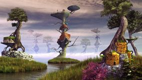 Fairy forest city Royalty Free Stock Image