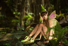 In the Fairy Forest. 3d CG graphics jungle scene with charming fairy vector illustration